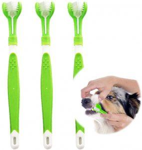 Cepillo de dientes para perro triple cabezal